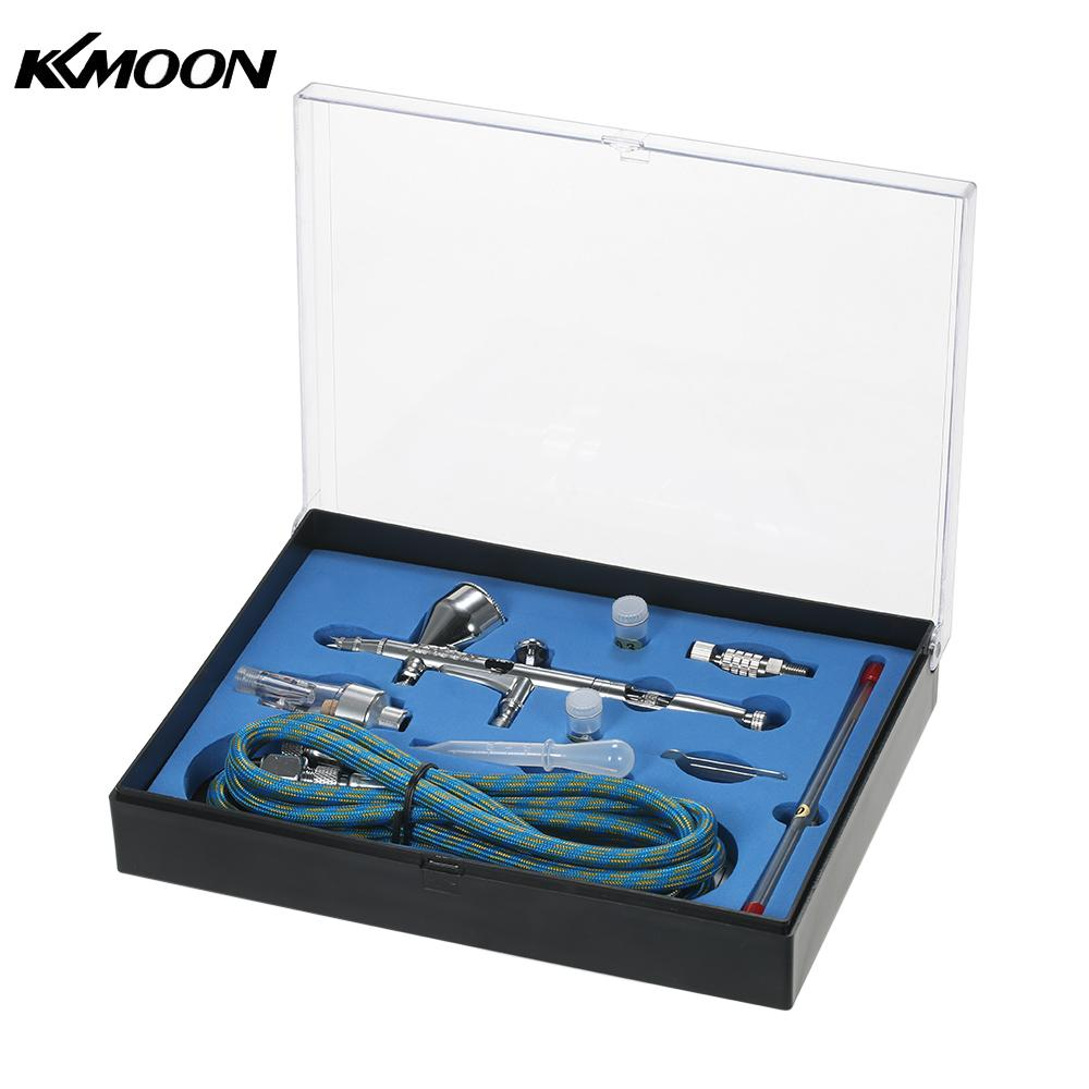 цена на KKmoon Dual Action Gravity Feed Airbrush Kit with 1.8m Hose 0.2/0.3/0.5mm Needle 9cc Cup Air Brush for Art Painting Spray Gun