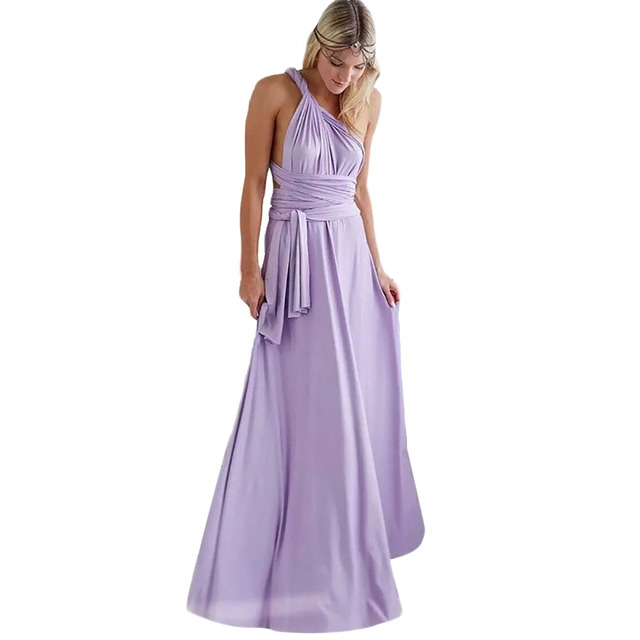 Women Sexy Solid Color Extra-long Straps Wrap Sleeveless V-neck Long Robe Dress