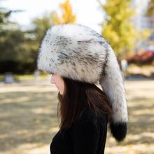 Woman Autumn Plus Size Thick Imitation Fox Fur Bombers Hats Male Winter Warm Skullies Caps Unisex