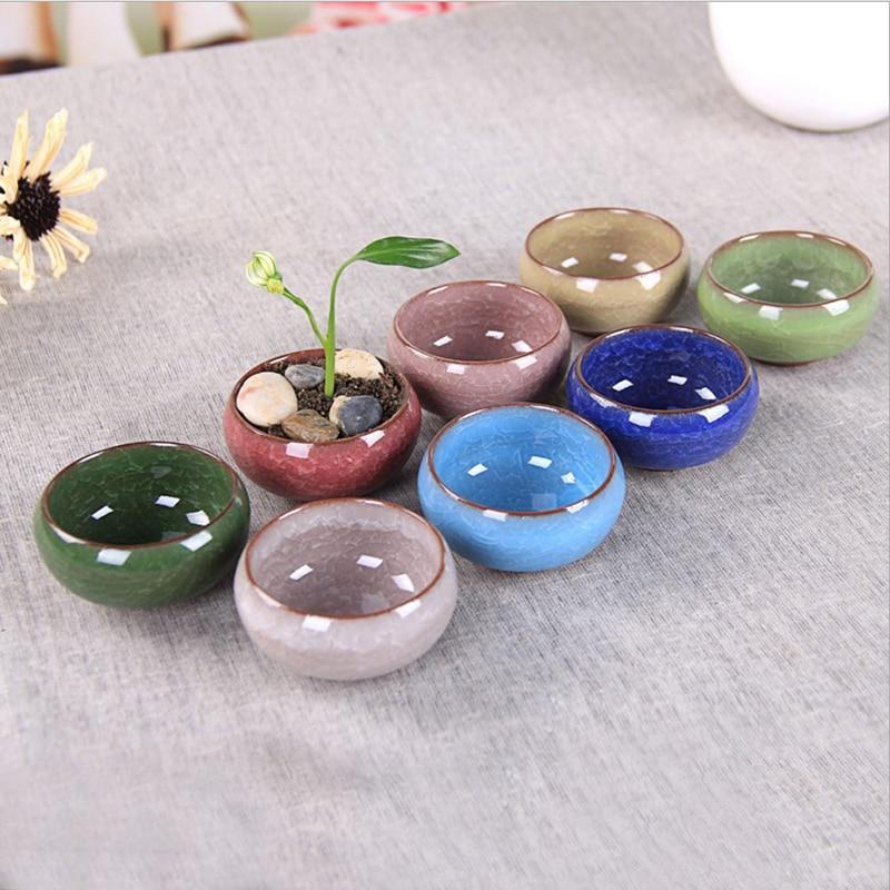 8Pcs/Lot Mini Succulent Plants Flowers Vase Flowerpot Potted Desk Mini Bonsai Pots Ceramic Mini Flower Pot Dropshipping