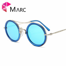 MARC UV400 WOMEN MEN sunglasses Mirror Round Leopard Red Brand Oculos eyewear Plastic