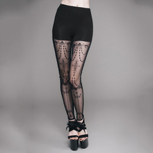 EVA LADY Steampunk Gothic Sexy Transparent Leggings for Women Black Casual Close-fitting Pants