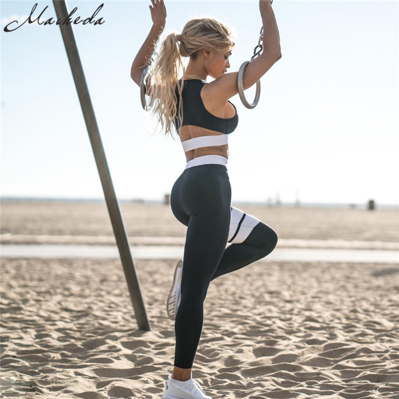 Macheda 2017 New Women's Sporting Trousers Sexy Push Up Sleeveless Tops Suits Female Workout Leggings Bra Two Piece Sets