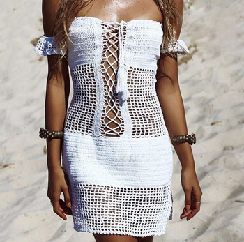 Boho Lace Up Slash-neck Hollow Out Beach Dress