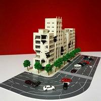 1/144 3D Battle Damaged Building Outland Model Railway Office Scene FOR Child Gift Hand Work Plastic ABS Assemble Game Set
