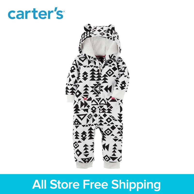 Cute bear ears hooded fleece Zip-front prints jumpsuit Carter's baby girl clothing fall winter 118H743 drawstring front cutout midriff tropical jumpsuit