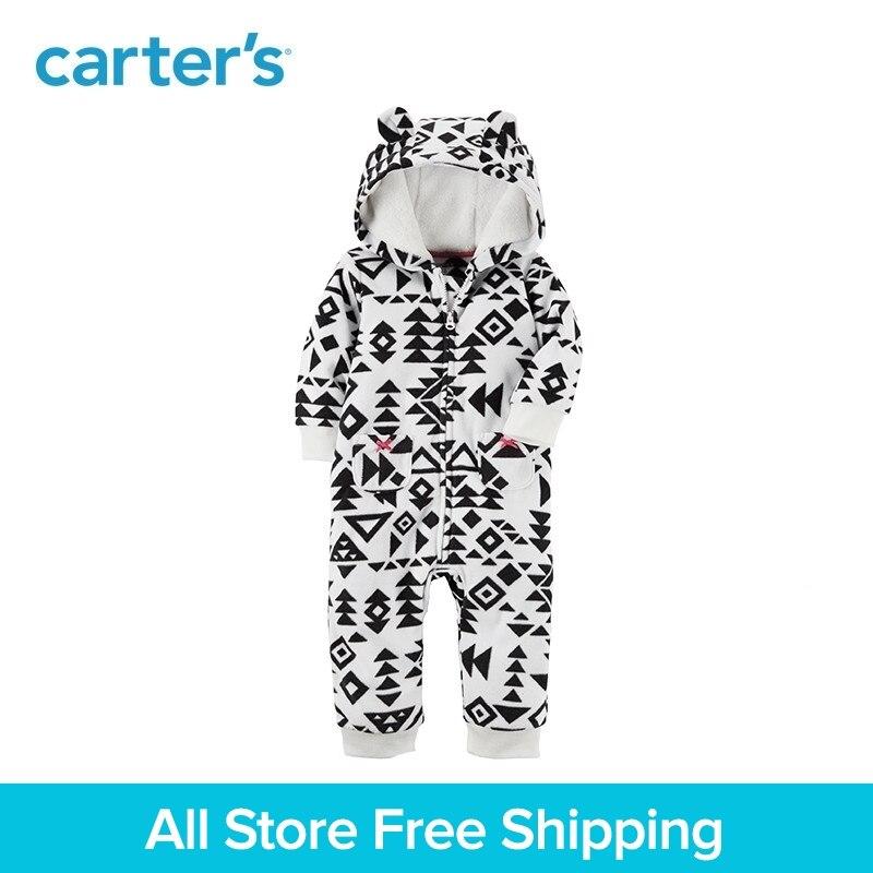 Mignon oreilles d'ours à capuchon polaire Zip-avant impression salopette de Carter bébé fille vêtements automne hiver 118H743