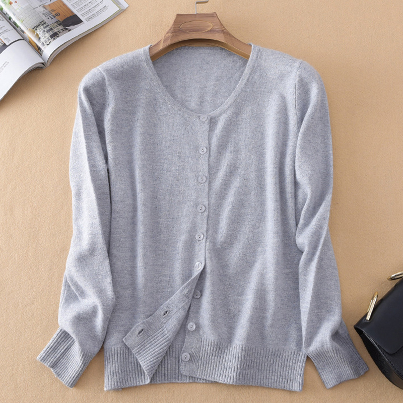 Clonop Sweater Women Cardigans 2017 Autumn O-Neck Solid Button Long Sleeve Kintted Wool Pure Cashmere Casual Women Sweaters