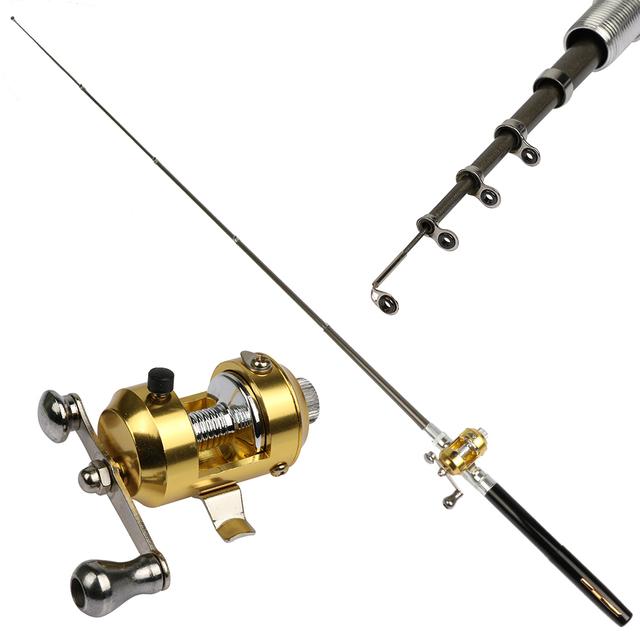 Goture 1M Ice Fishing Aluminum Alloy Pocket Pen Fishing Pole  with Baitcasting Reel Mini Pen Rod Fishing Kit