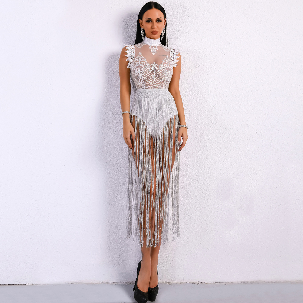 Sexy Perspective   Cocktail     Dress   Jurken Sleeveless Lace Skirt Long Shimmering Tassels Close Safety Pant Inside