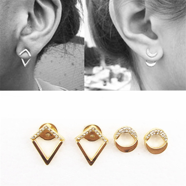 New Fashion Gold Color Ear Jacket Jewelry Crystal Clips Moon Triangle Stud Earrings For Women