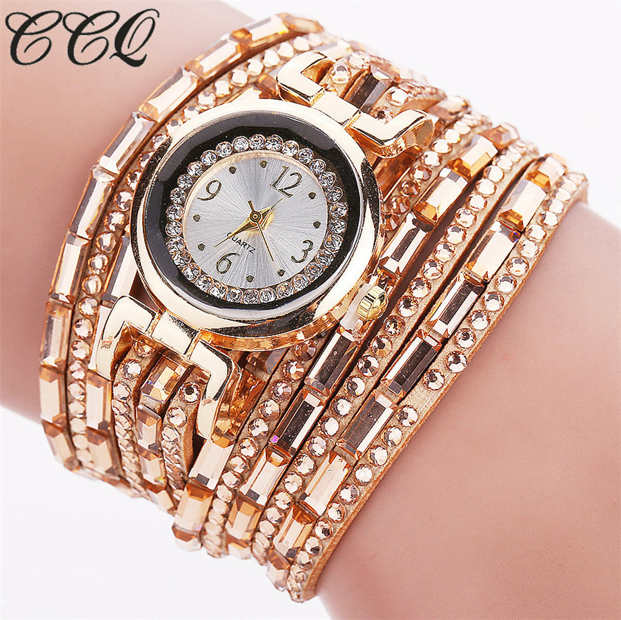 CCQ Brand Women Fashion Gold Dress Crystal Bracelet Wristwatches Luxury PU Leather Vintage Quartz Watch Clock C73