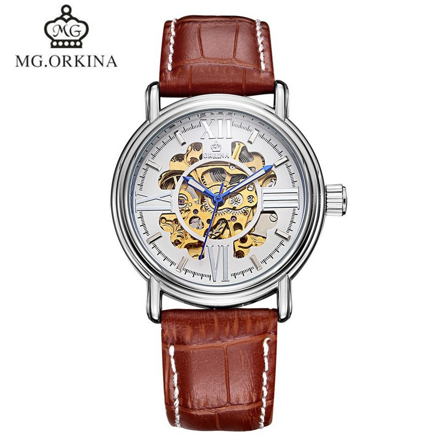 Men's ORKINA Relogio Masculino Sports Skeleton Automatic Mechanical Leather Strap Watch relojes