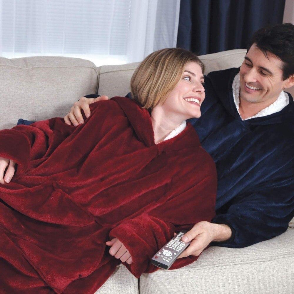 Inclinação do hoodie Ao Ar Livre Com Capuz Inverno Casacos Quentes Com Capuz Roupão de banho Camisola de Lã Pullover Cobertor Para Mulheres Dos Homens