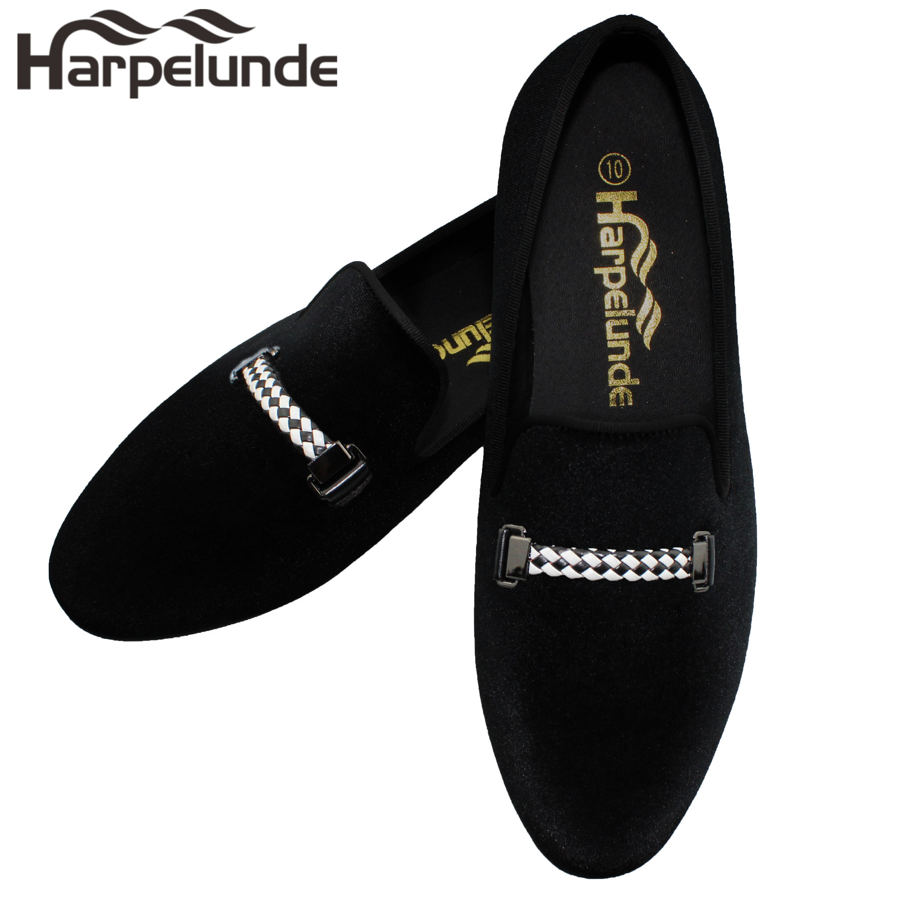 Harpelunde Men Even Shoes Black Dress Velvet Loafers With Woven Buckle