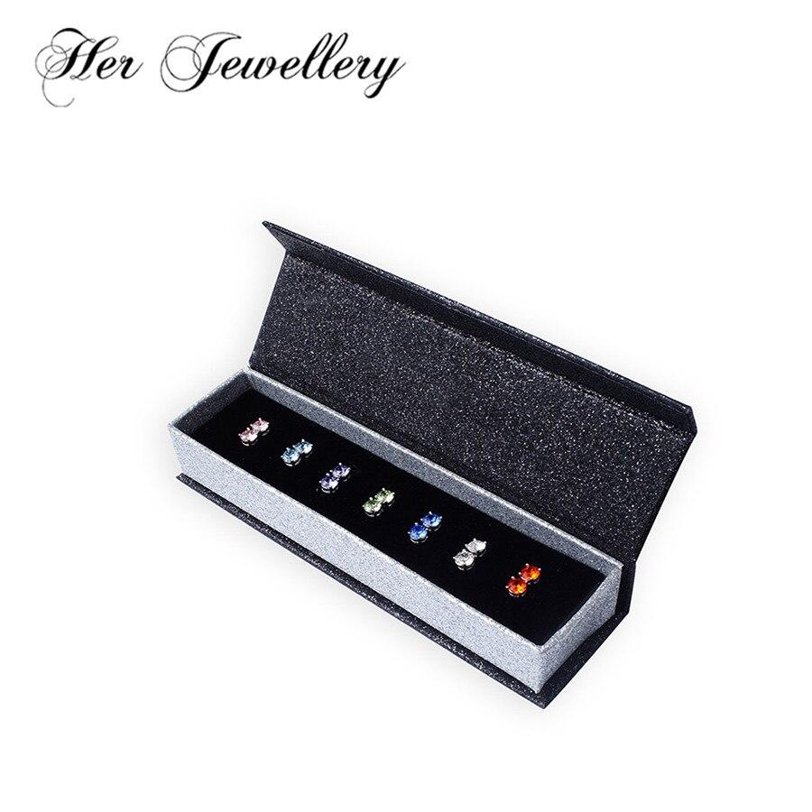 Ses bijoux 7 couleurs boucles d'oreilles rondes pour femmes bijoux faits avec des cristaux de Swarovski, ensemble de boucles d'oreilles classique HE0160