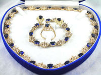 free shipping>> Pretty plated Yellow gold blue necklace bracelet ring set