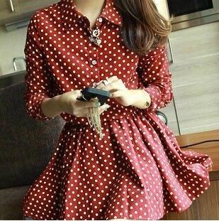 ad3e9a46077 Plus Size Polka Dot Shirt Dress Skater Mini long sleeve Red Blue white  tunic korean cute casual free shipping Women 2015 summer