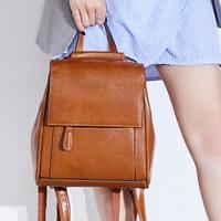 High Quality Genuine Leather Rucksack School Daypack Cross Body Shoulder Bags Travel Knapsack Women Oil Wax Cowhide Backpack