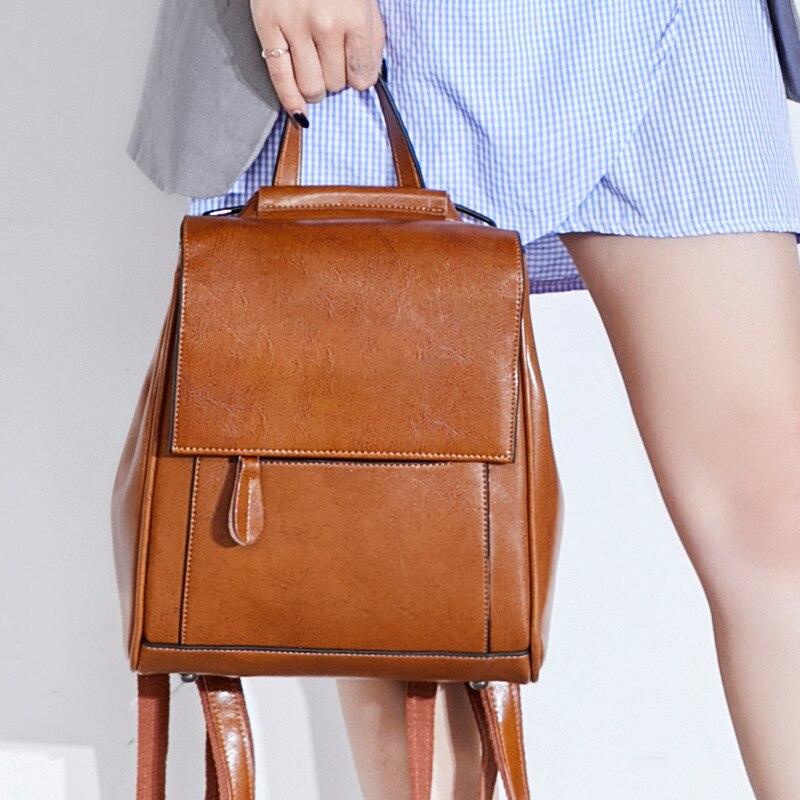 Women Oil Wax Cowhide Backpack School Daypack High Quality Genuine Leather Cross Body Shoulder Bags Rucksack Travel Knapsack-in Backpacks from Luggage & Bags    1