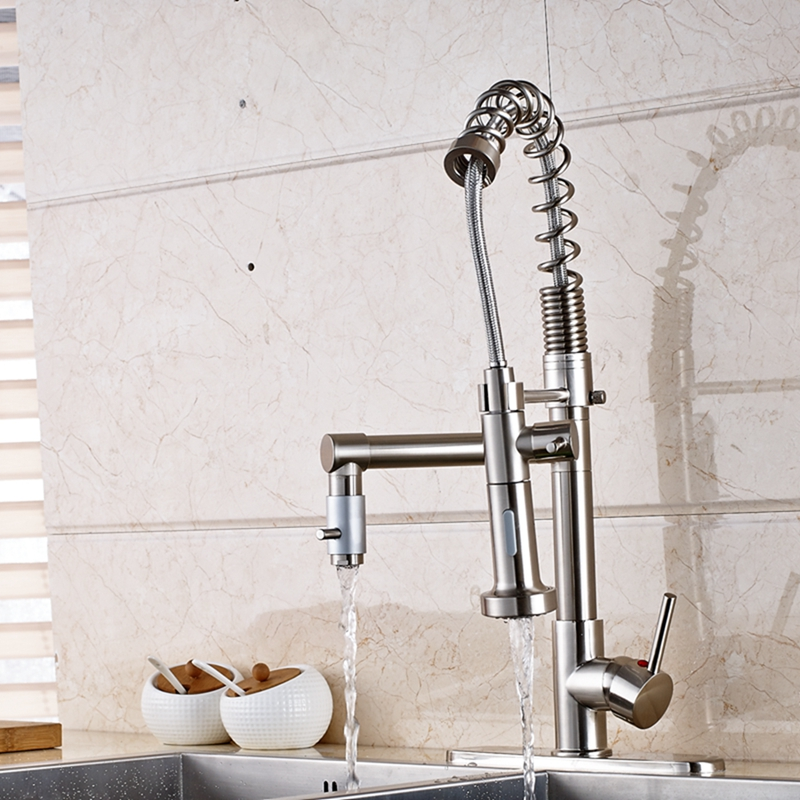 Nickel Brushed Kitchen Faucet Dual Spout Vessel Sink Mixer Tap One Handle Cover