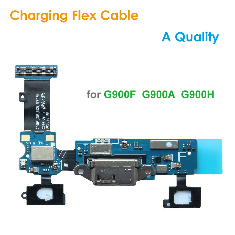 Quality Replacement Charging Flex Cable For Samsung Galaxy S5 G900F G900A Microphone MIC USB Charging Port Socket Dock Connector