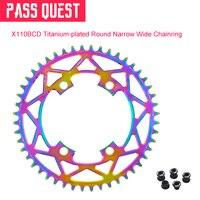2019New BCD 110 Titanium plated Round Road Bike Narrow Wide Chainring 40T 52T R2000 R3000 4700 5800 6800 DA9000
