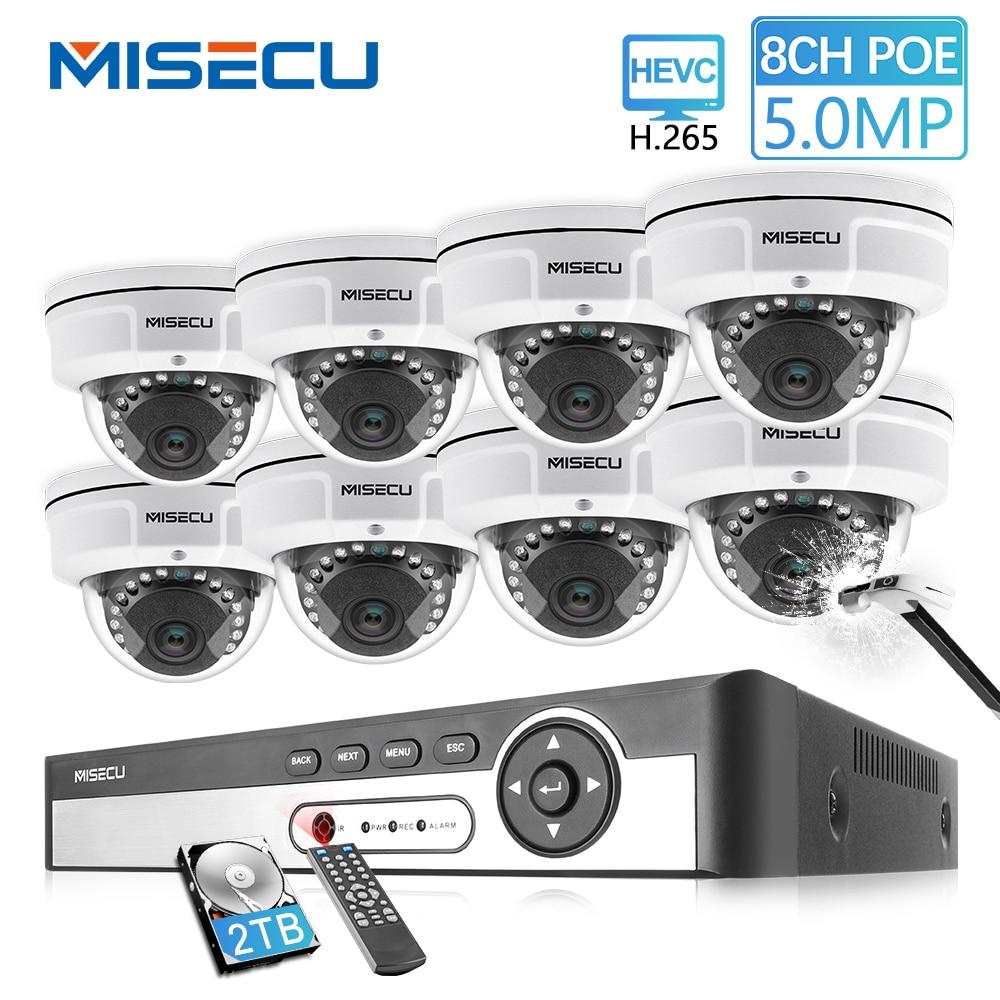 MISECU H.265 8CH 48V POE CCTV Sistema 5.0MP 4.0MP IP POE Câmera de Vídeo de Vigilância de Segurança à prova de Vandalismo Metal À Prova D' Água kit