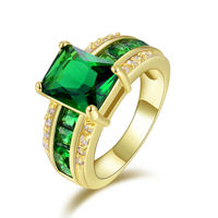 R004YGE Hot Fashion Jewelry Super Size 6 to10  women Emerald Cz 18K Yellow Gold Filled Engagement Ring Gift Free Shipping