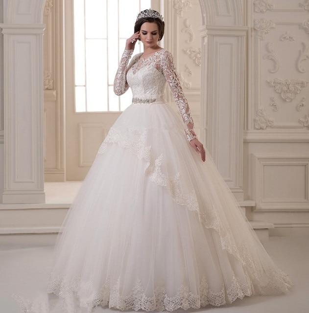 2015 Elegant White Lace Ball Gown Wedding Dresses Sweep Train ...