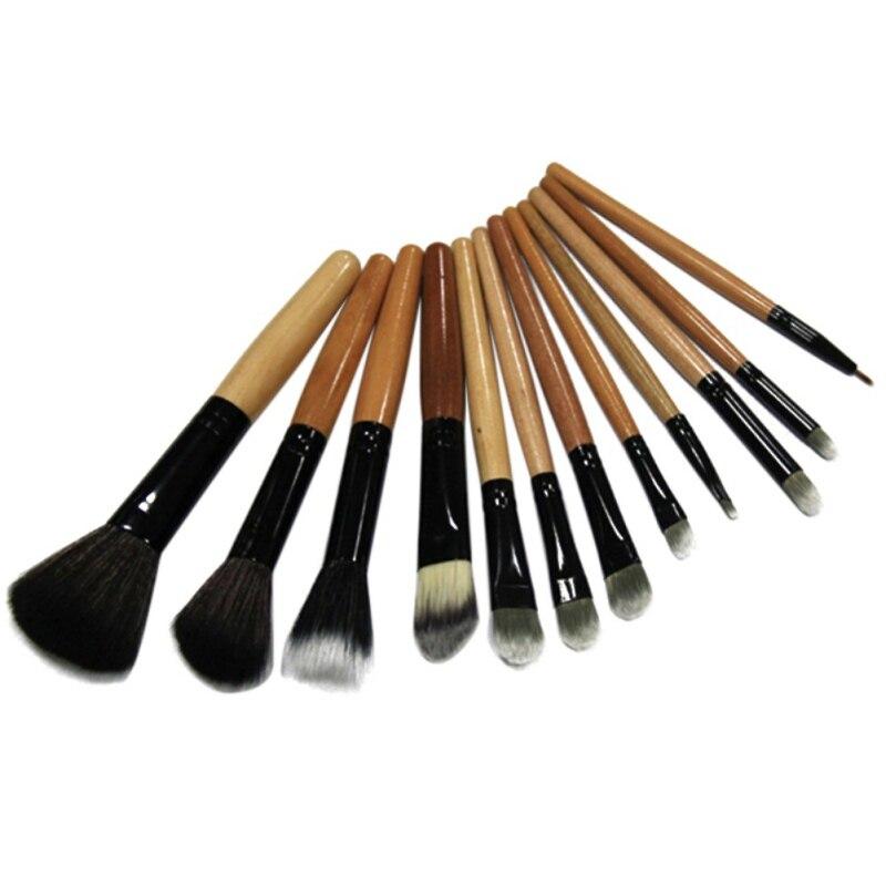 12pcs Makeup Brushes Set Cosmetic Tools with Leopard Bag Women Brush DIY Kit Y15 100cm creative slim diy mesh bag for cosmetic makeup brush 12290
