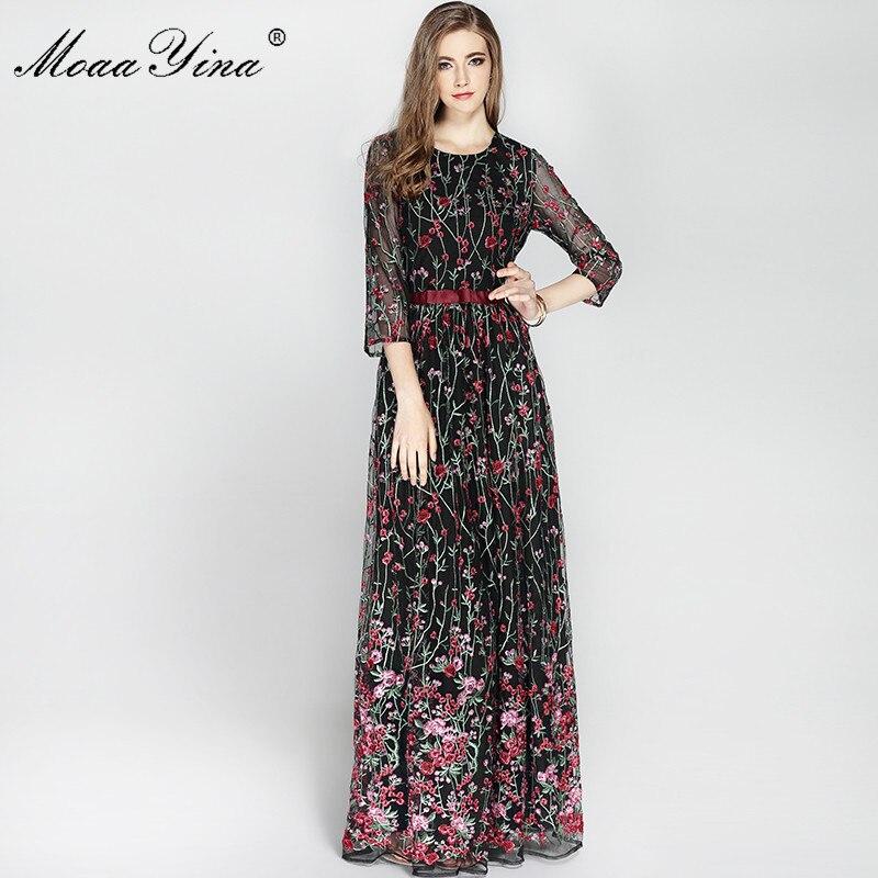 Automne noir et beige maille avec broderie florale robe femmes à manches longues Designer de piste MoaaYina femmes robe
