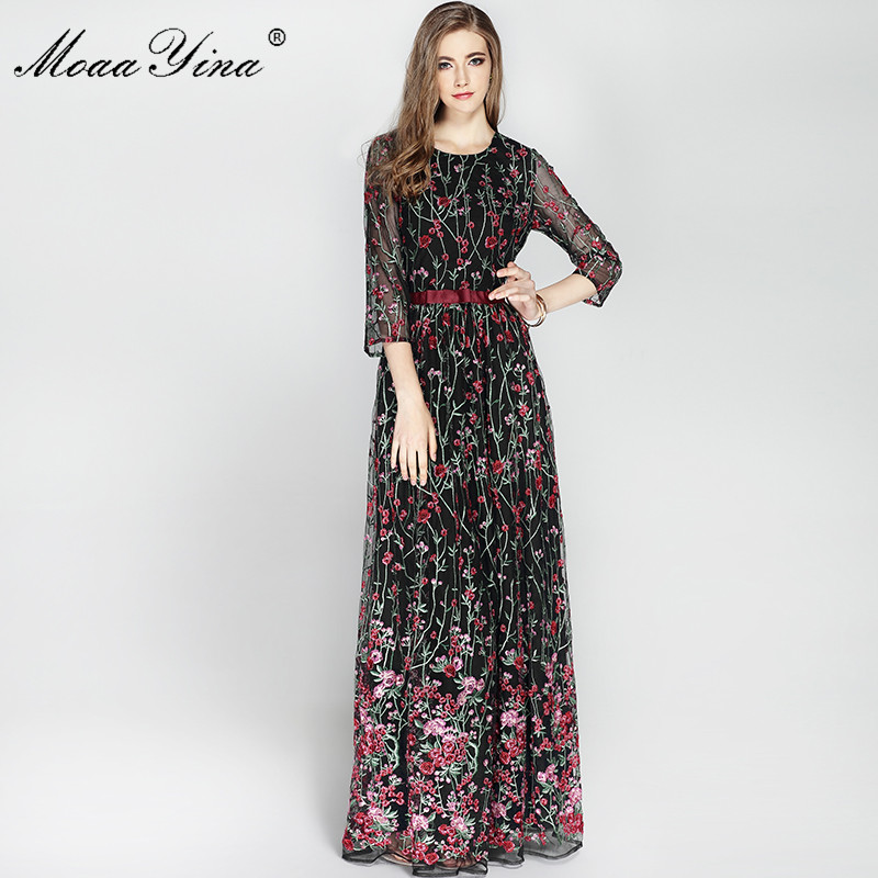 Autumn Black and beige Mesh With Floral Embroidery Dress Women's Long Sleeve Runway Designer MoaaYina Women Dress