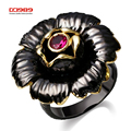 DC1989 Special Women Rings Blossom Flower Vintage Design Black & Gold Plated Engagement Ring Rose Color Cubic Zirconia Lead Free