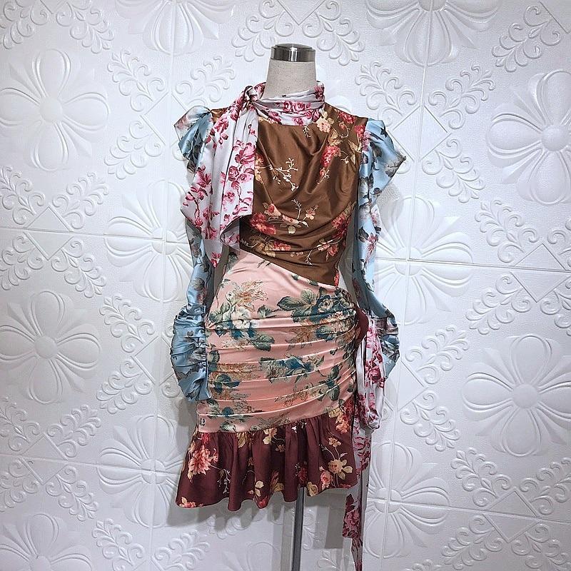 Robes Fleur Imprimer Couleur Arc Partie Manches Patchwork Robe Hit Longues À Celebrity Femmes Col Drapé qw6nRUWE