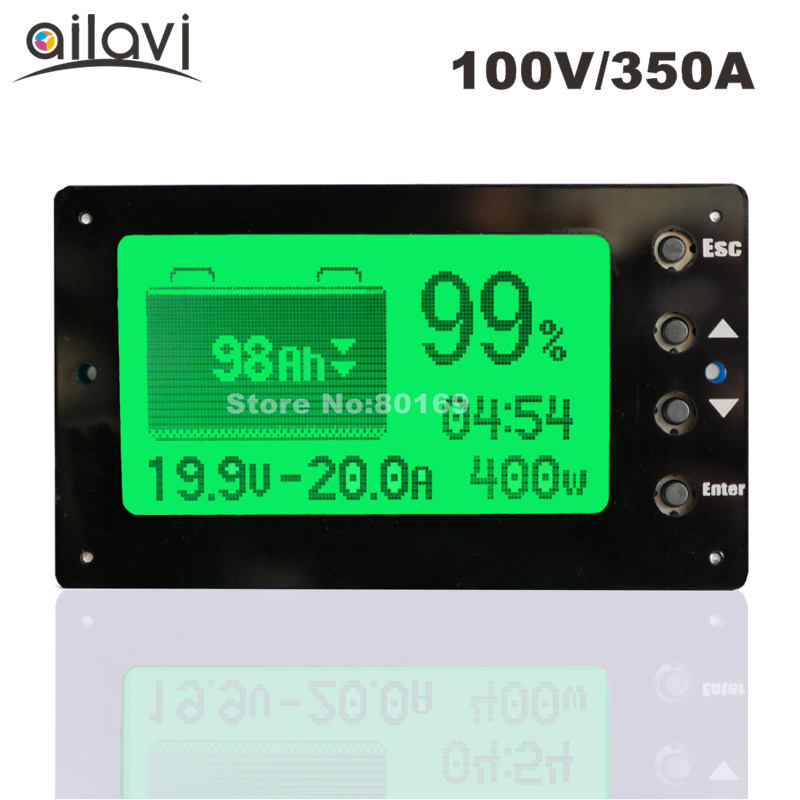 TF03 Large Screen Coulometer 100V 350A Lead-acid Lithium Battery Capacity Tester Voltage Current Display Coulomb Counter for RV battery capacity tester with lcd indicator for 12v 24v 30v lead acid lithium lipo