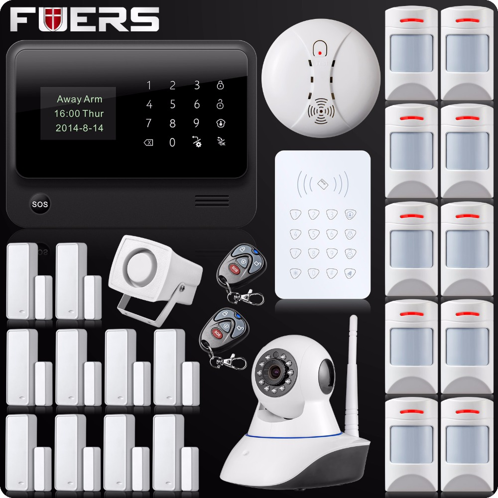 Wireless WiFi GSM GPRS SMS Home Security Alarm System LCD ISO Android App Control Pet Immune Pet Detector Password Keypad free shipping android ios app control rfid touch keypad wireless gsm sms home security alarm system 11 door 4 pet immune sensor