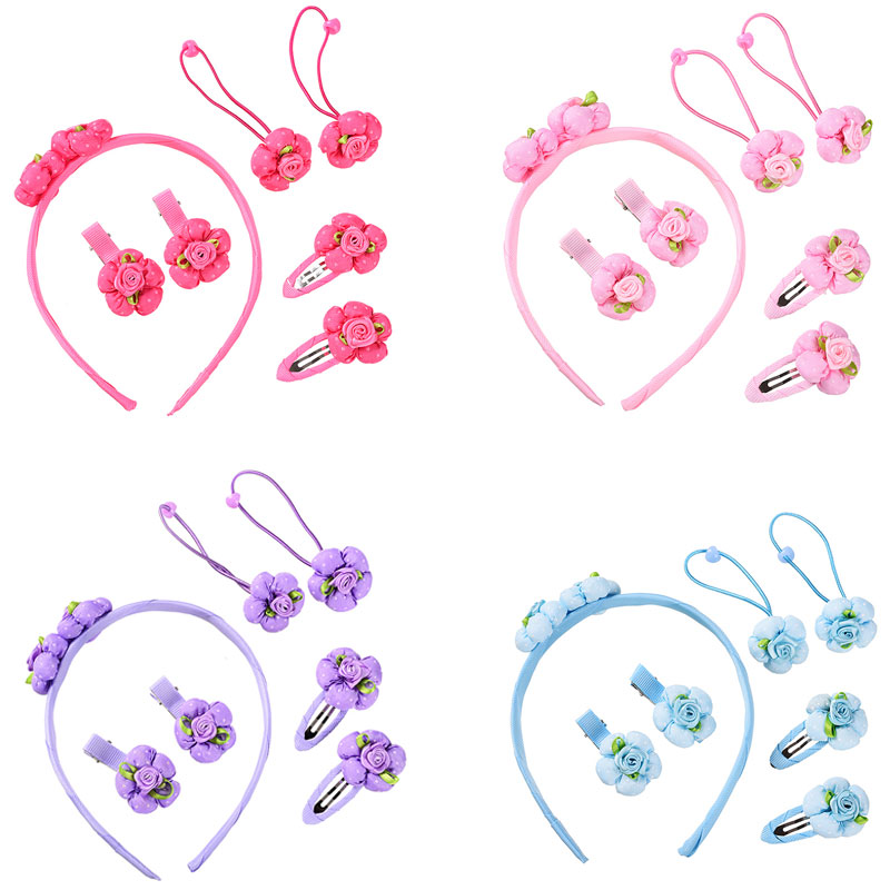 M MISM 7PCS Sweet Flower Elastic Hair Bands Hairgrip Headband For Girls Kid Hairpins Hair Accessories Set Hair Clip Scrunchy lysumduoe headband black hairpin women clip s shape barrette girl hairgrip hairgrips children hairpins jewelry hair accessories