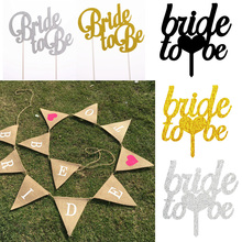 Team Bride to be Cake Topper Cupcakes flag Bridal Shower Gold Silver Glitter Paper Bachelorette Hawaiian wedding party