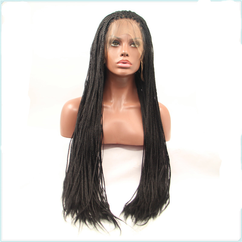 African American Micro Braided Wigs Long Afro Braiding