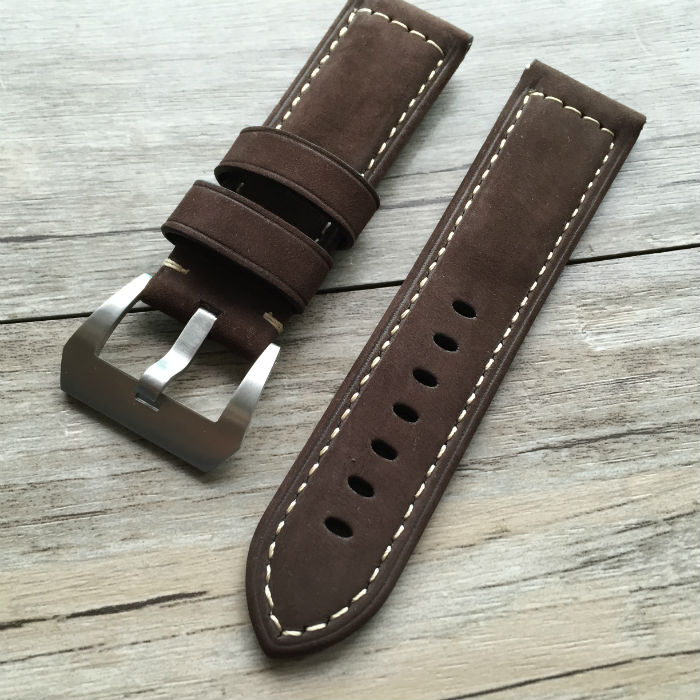 22 24 26MM Soft Handmade Leather Watchband Vintage Leather Watch Strap For Pam And Pilot watches