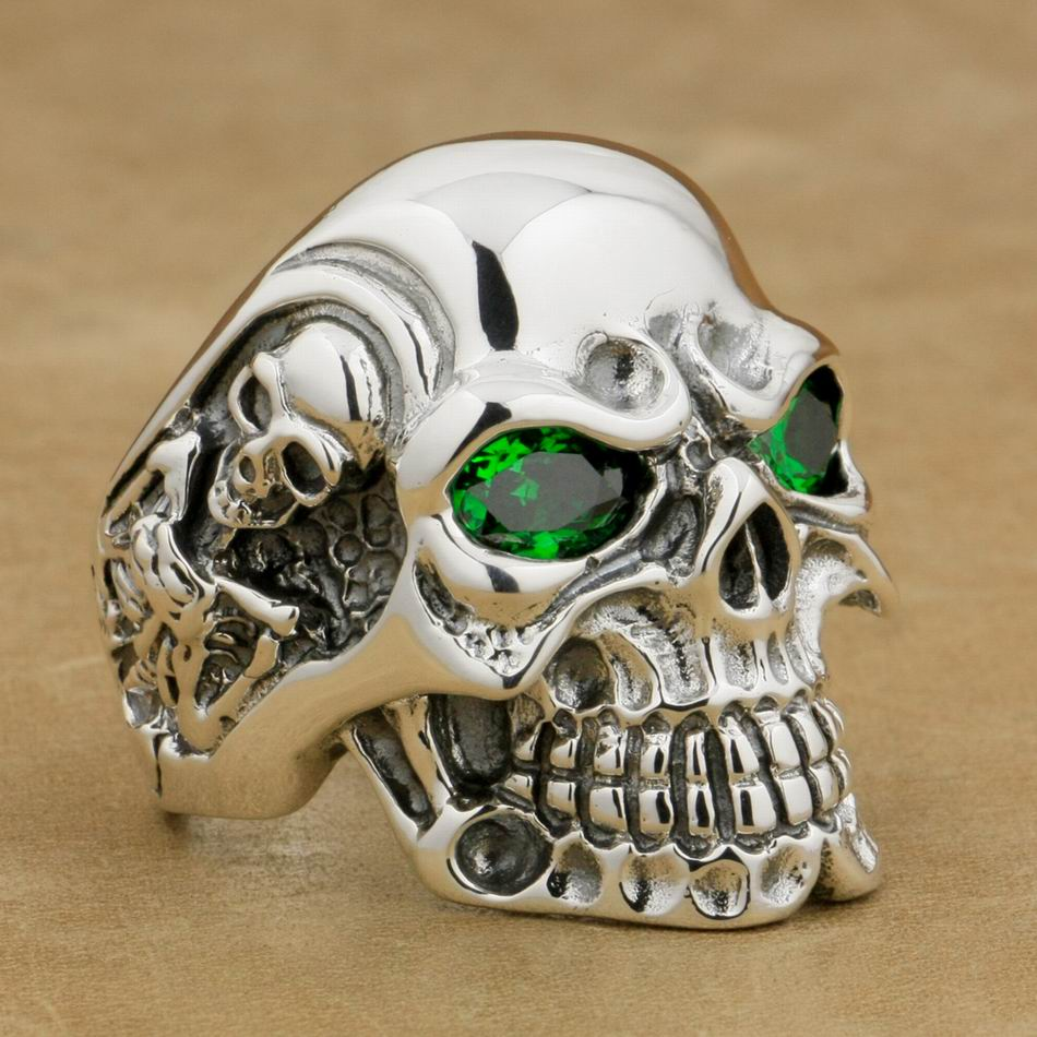 LINSION 925 Sterling Silver Titan Skull Green CZ Stone Eyes Mens Biker Punk Ring sterling-silver-jewelry 8V205 US Size 7~15 titan asia silver 77 а ч пр