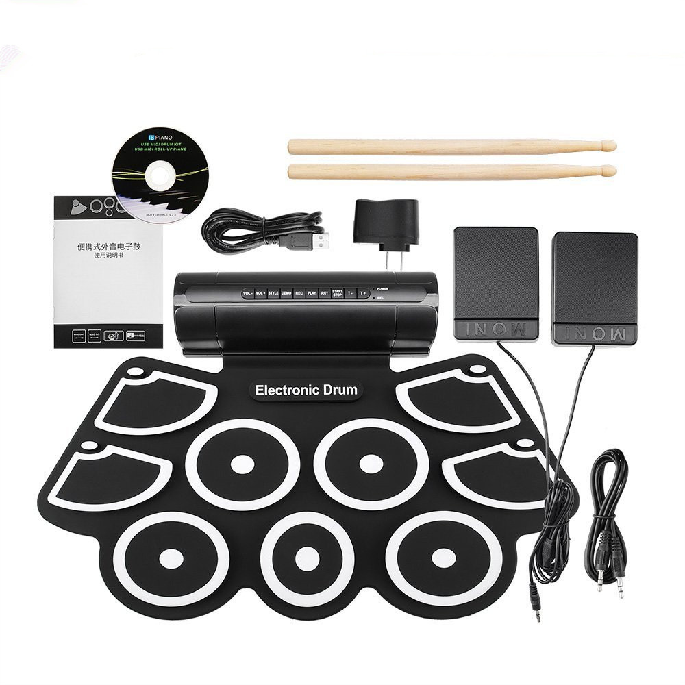 ZONAEL Portable Roll up Electronic USB MIDI Drum Set Kits 9 Pads Built-in Speakers Foot Pedals Drumsticks USB Cable For Practice