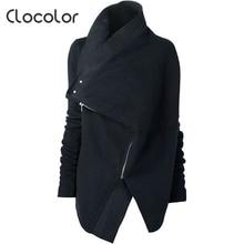 Clocolor 2017 Fashion New Arrival Black Women Jacket Long Sleeve Spring Stylish Solid Coat Female Irregular Cloak Winter