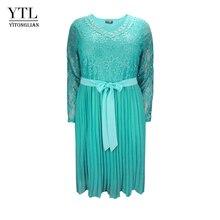 בתוספת גודל שמלות לנשים 4xl 5xl 6xl אביב סתיו Boho בציר תחרה קפלים שיפון המפלגה שמלת נקבה גדול גודל שמלת H162