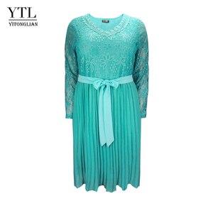 Image 1 - Женское шифоновое платье с кружевом, размеры до 6xl