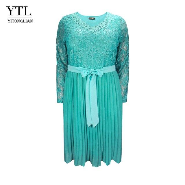 Женское шифоновое платье с кружевом, размеры до 6xl