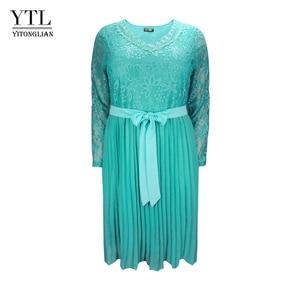 Image 1 - Plus Size Dresses for Women 4xl 5xl 6xl Spring Autumn Boho Vintage Lace Pleated Chiffon Party Dress Female Large Size Dress H162