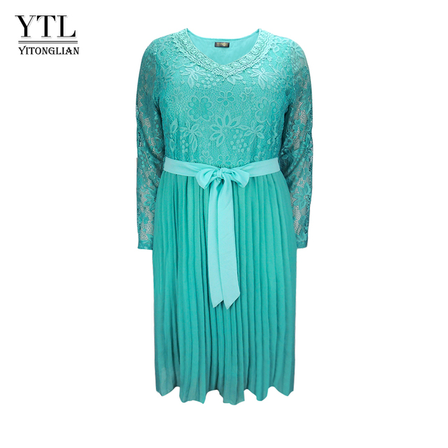 Plus Size Dresses for Women 4xl 5xl 6xl Spring Autumn Boho Vintage Lace Pleated Chiffon Party Dress Female Large Size Dress H162