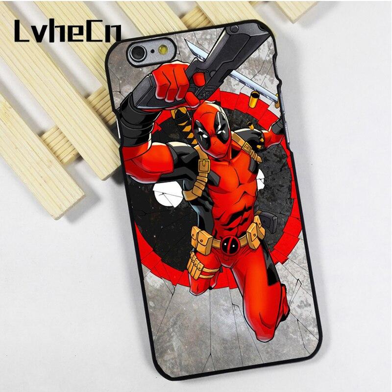 LvheCn phone case cover fit for iPhone 4 4s 5 5s 5c SE 6 6s 7 8 plus X ipod touch 4 5 6 Deadpool Comic Movie Superhero Marvel